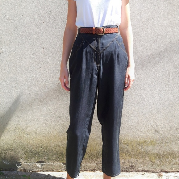 Vintage 100% Silk Black Trouser Pants by Vintage